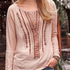 Sundance Beaded Top w/ Lace Sleeves, Small